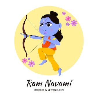 Round background of rama with bow and arrow