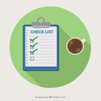 Round background with checklist and coffee cup