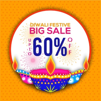 Round background with diwali sale