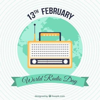 世界ラジオの日のための緑の詳細とラウンド背景