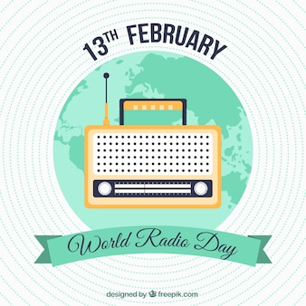 Round background with green details for world radio day