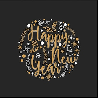 Round background with hand-drawn elements for new year