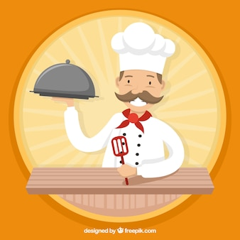 Round background with smiling cook character