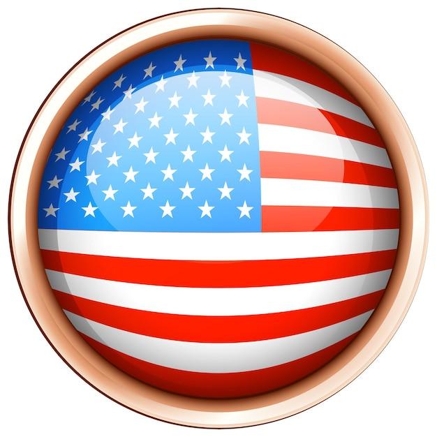 Дизайн круглого значка для флага америки
