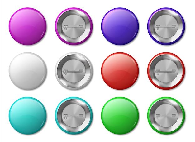 丸いバッジ。現実的な金属ラベルデザインテンプレート、プラスチック製の光沢のあるサークルタグ、多色ボタンおよびピン。