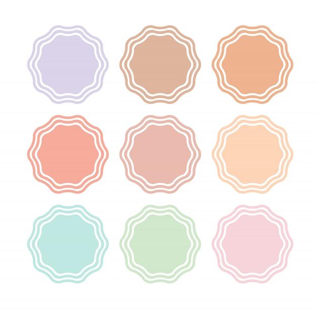 Round badge silhouette set
