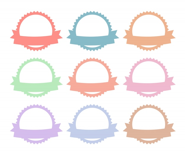 Round badge silhouette with ribbon set