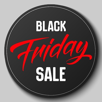 Round badge with black friday sale vector illustration