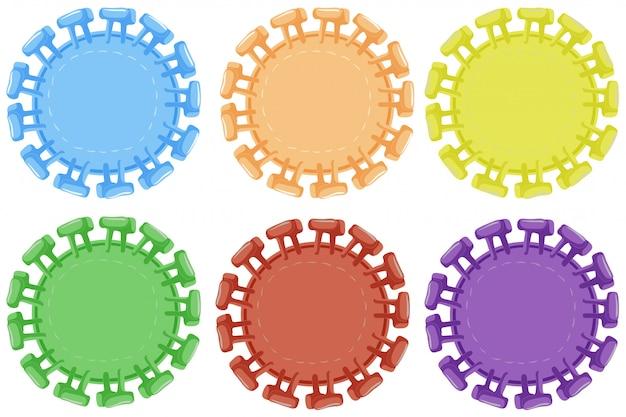 6色のラウンドバッジ