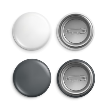 Round badges. white plastic badge, isolated buttons with pins. realistic round magnet with metallic blank back side set.