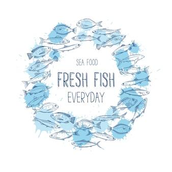 Круглый баннер рисованной рыбы.