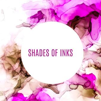 丸いバナー、紫とピンクの色合いの水彩背景、ぬれた液体、手描きの背景水彩テクスチャ