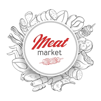 Round banner template with hand drawn engraving gastronomic meat products