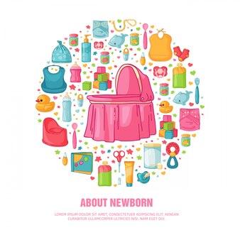 子供の頃のパターンの丸いバナー。チラシを飾るための新生児のスタッフ。カード、服、おもちゃ、女の子の赤ちゃんのシャワー用アクセサリーの招待状のサークルデザインテンプレート。 。