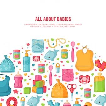 Круглый баннер с детским рисунком. новорожденный посох для украшения. круг дизайн шаблоны для открытки, приглашения с одеждой, игрушками, аксессуарами для детского душа. ,