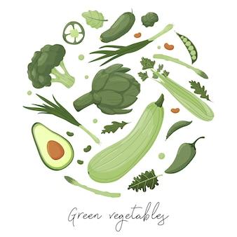 Круглый баннер с зелеными овощами на белом фоне. шаблон рисования рук