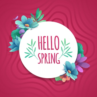 Round banner with the  hello spring logo.  card for spring season with white frame and herb. promotion offer with spring plants, leaves and flowers decoration on pink background.