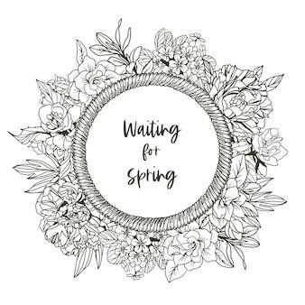 ロープフレームと小さな春の花-ジャスミン、牡丹、クチナシの花の丸いバナー。手描きイラスト。