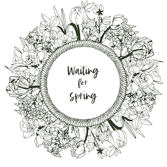 Round banner with rope frame and tiny spring flowers - narcissus, snowdrops, tulips, lilies of the valley. hand drawn   illustration.