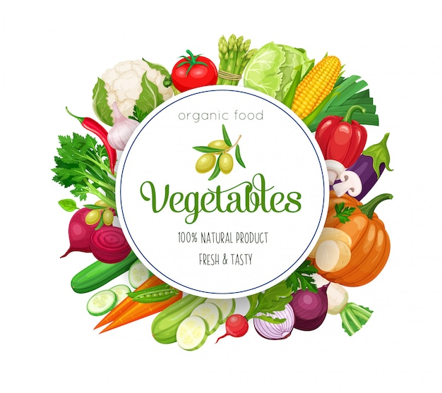 Round banner with  vegetables