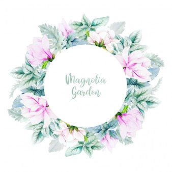 Round banner with watercolor magnolia flowers and leaves