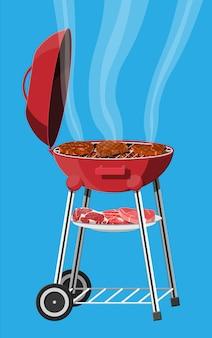 Круглый мангал. значок барбекю. электрический гриль. устройство для жарки пищи. свежее мясо и стейк. векторная иллюстрация в плоском стиле