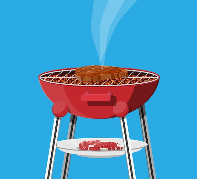 Round barbecue grill. bbq icon. electric grill.
