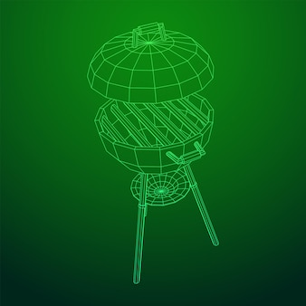 丸いバーベキューグリル。屋外バーベキューパーティー。ワイヤーフレーム低ポリメッシュベクトル図