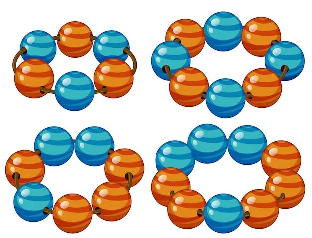 Круглые бусины в синей и оранжевой иллюстрации