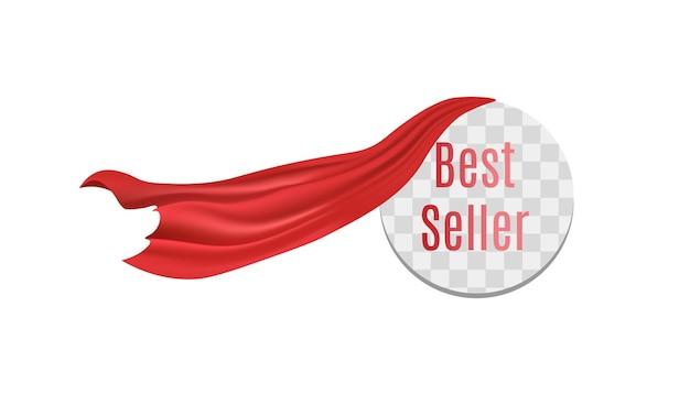 Круглый стикер-бестселлер с красной шелковой занавеской, стекающей с прозрачной рамки
