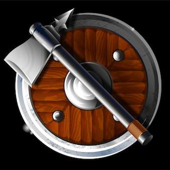 Круглый большой старинный доспех со старым металлическим острым топором, оружие для сильного воина. современная иллюстрация стиля реалистическая ничья.