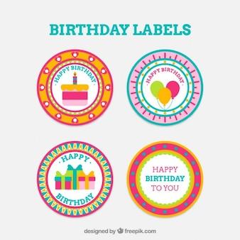 Round birthday badges