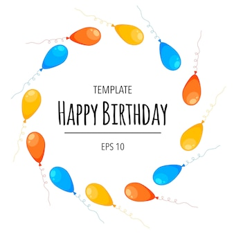 Round birthday frame for your text with balloons. cartoon style. vector.