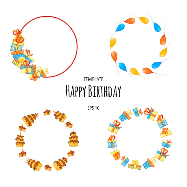 Round birthday set of frames for your text. cartoon style. vector.