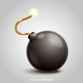 Round black bomb realistic style