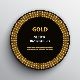 Round black frame with golden glittering effect and text template