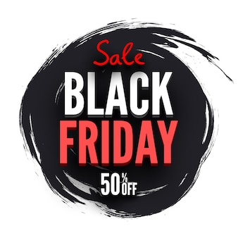 Round black friday sale banner with brush strokes