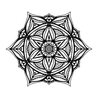 白い孤立した背景に丸い黒い曼荼羅。花柄のベクトル自由奔放に生きる曼荼羅。ヨガのコンセプト、抗ストレス療法