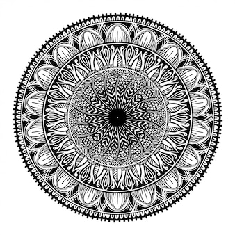 Round black mandala on white isolated white background.