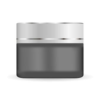 Круглая черная матовая стеклянная банка с пластиковой крышкой