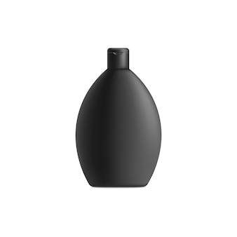 丸い黒いシャンプーボトル