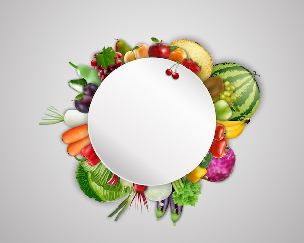 Round blank banner on fruits and vegetables background