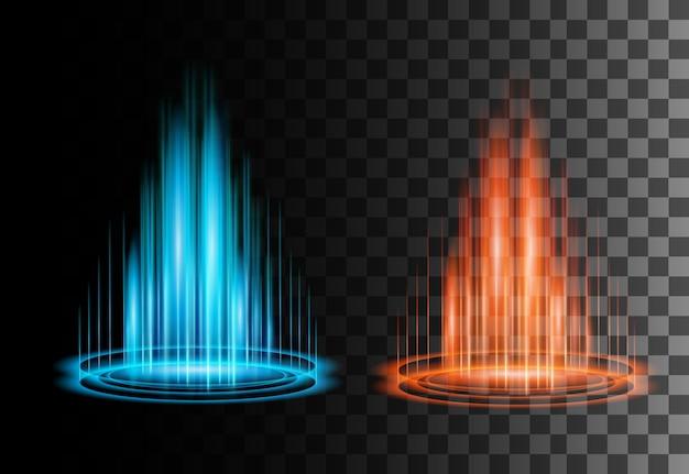 丸い青と赤のグロー光線の夜のシーン