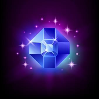 Круглый синий изумрудный сияющий драгоценный камень с волшебным сиянием и звездами на темном фоне
