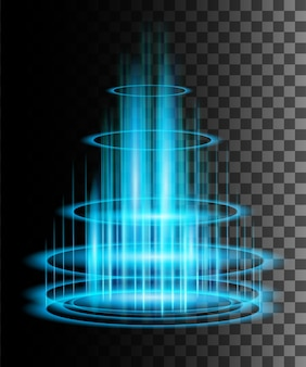 Round blue glow rays night scene with sparks on transparent background