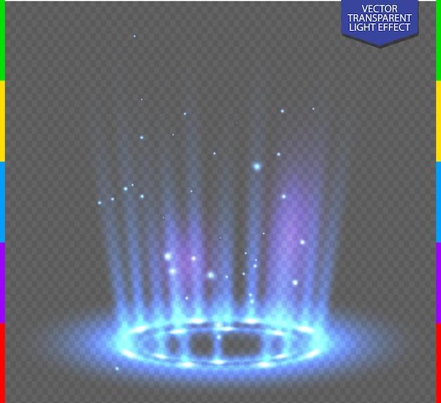 透明な背景に火花と丸い青いグロー光線