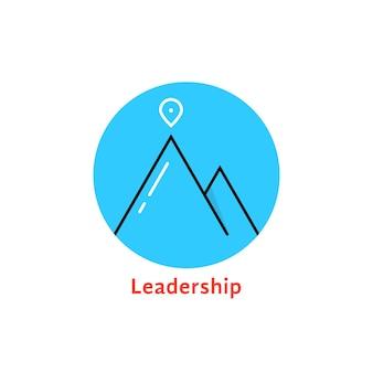 라운드 블루 리더십 로고입니다. alpinism, 솔루션, 스키, 바위, 목표, 등산, 방법, 지도 핀, 달성의 개념. 흰색 배경에 고립. 플랫 스타일 트렌드 브랜드 디자인 벡터 일러스트 레이션