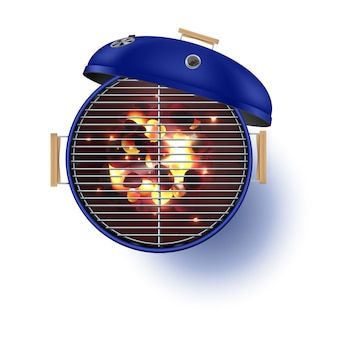Round blue  open barbecue grill top view  realistic