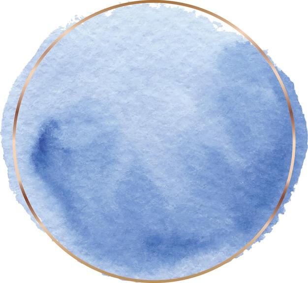 Круглая синяя акварельная рамка с золотой линией