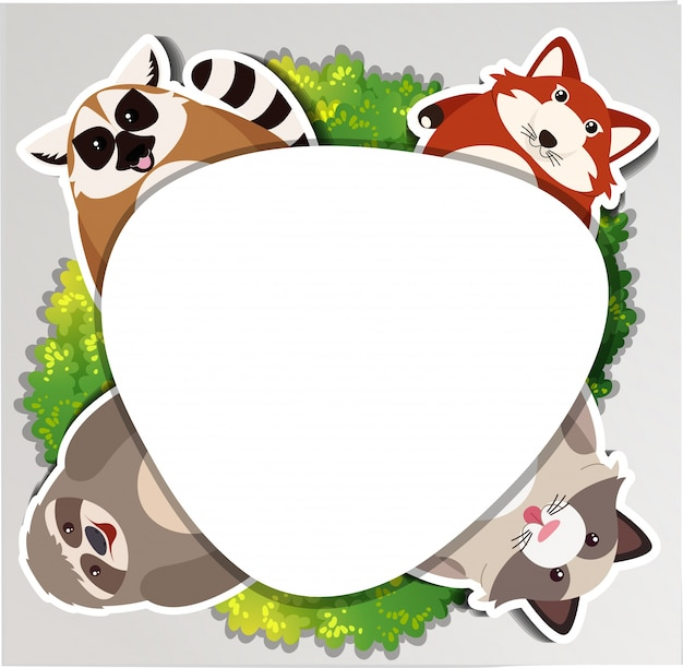 Round border with sloth and raccoon